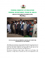 FG INAUGURATES GOVERNING COUNCIL OF COMPUTER PROFESSIONALS OF NIGERIA