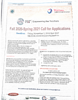 Fall 2020-Spring 2021 Call for Application s