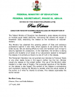 EDUCATION MINISTRY DISOWNS PRESS RELEASE ON PRESUMPTION OF SCHOOLS