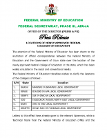 LOCATIONS OF NEWLY APPROVED FEDERAL COLLEGES OF EDUCATION