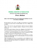 EDUCATION MINISTER SOLICITS WORLD BANK SUPPORT ON OUT -OF- SCHOOL CHILDREN