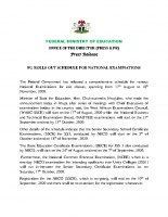 FG ROLLS OUT SCHEDULE FOR NATIONAL EXAMINATIONS