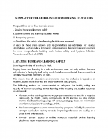 SUMMARY OF THE GUIDELINES FOR REOPENING Of SCHOOLS